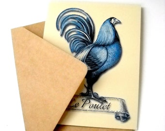 Victorian Blue Rooster Greeting Card with Envelope