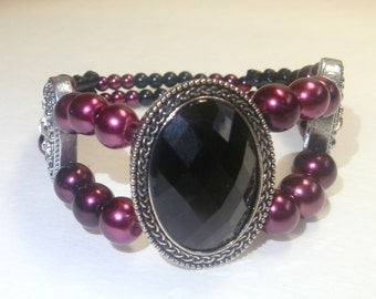 Pearl bracelet-black faceted cabochon-Tibetan silver-crystals-evening jewelry-prom jewelry