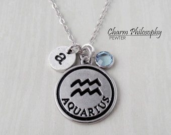 Aquarius Zodiac Necklace - Monogram Personalized Initial and Birthstone - Antique Silver Horoscope Pendant