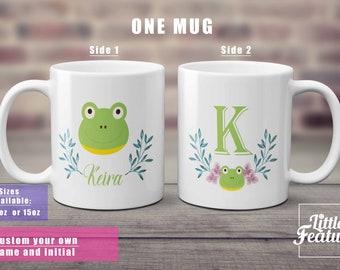frog gift gift for frog lover custom name mug, initial mug, wreath mug, gift for her,reptile animal ,green frog mug,