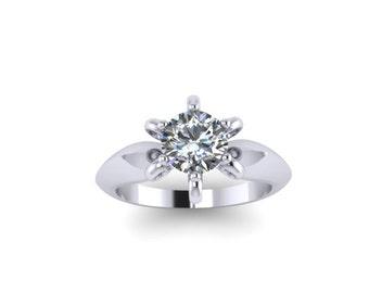 Solitaire Engagement Ring Moissanite Engagement Ring 14K White Gold with 6.5mm Charles & Colvard Forever One Moissanite Center - V1080