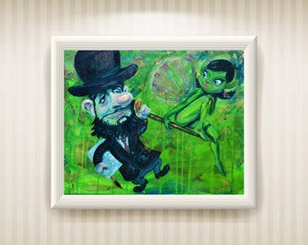 Toulouse-Lautrec and his Green Fairy acrylic original painting 16x20 inches Victor Payes Absinthe Illustration fine art gift french modern