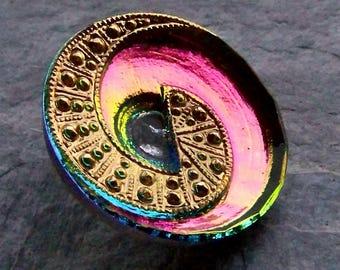 Art Deco Button, Vitrail Button, Hand Painted Button, Faceted Button, Unique, Rare Button, Czech Button, Nail Head Button, 1 Button