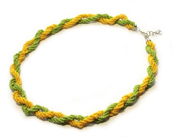 Seedbead necklace Green yellow Necklace statement bib necklace handmade gift for her short simple minimalist necklace romantic jewelry gift