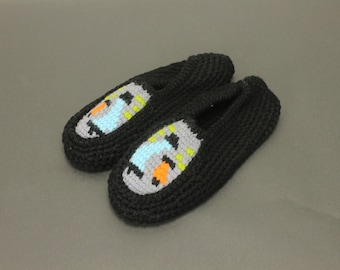Size Large Black CHUMMIES CROCHET Knit Vintage Ladies Women's Slippers Mules Bedroom House Shoes Mid Century Retro