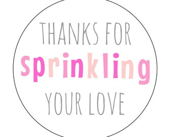 12 Baby Sprinkle Pink Stickers, Sprinkle Labels, About to Pop, Bottle Labels, Baby Shower Labels, Goodie Bag Labels, Baby Shower Favors