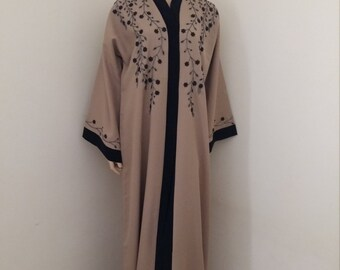 Abaya, crepe, light brown with hand stitched beadwork  comes with scarf.