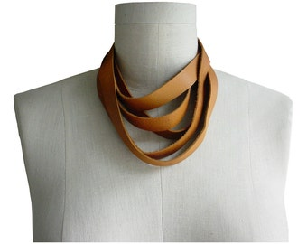 Layered Leather Necklace Leather Choker, Wrapping necklace, Boho necklace choker leather scarf, men, women, leather wrap choker. Honey Tan
