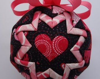 Quilted Fabric Ornament I Love You Valentine Christmas