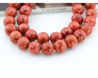 10mm,Round Sponge Coral Beads,One Full Strand,Round Coral Beads,Coral Beads,Red Coral Beads,Gemstone Beads---43 Pieces--16 inches--BC009