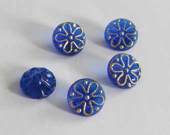 Nice button dark blue and gold translucent flower pattern