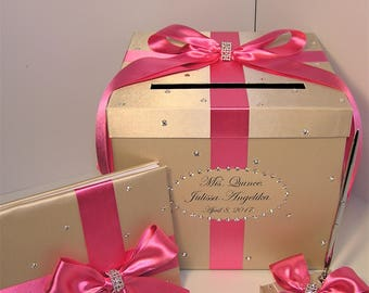 Wedding Card Box 4 Sets,1 tier Champagne and Hot pink Card Box Guest book,Pen/Pen Holder Gift Card Box Money Box Holder-Customize your color