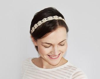 Boho Bridal Headband, Boho Wedding Headpiece, Crochet Bride Headband, Gold Headband Adult Size, Womens Headband Wedding, Metallic Headband