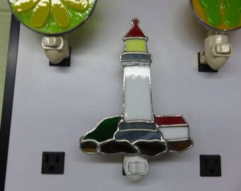 Lighthouse Nightlight Ready to Ship - Stained Glass Lighthouse NL - Other Lighthouses Made to Order