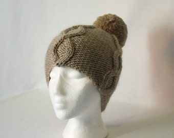 Power Cable Hat knitting PATTERN - warm bulky knit bobble cabled stocking hat toque beanie - permission to sell finished items
