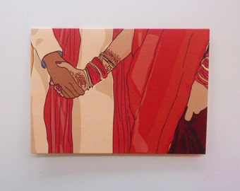 Indian Wedding Greetings Card - Traditional Ceremony Couple Holding Hands