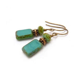 Turquoise Drop Earrings - Picasso Rectangle Glass - Simple Earrings - Yoga Jewelry
