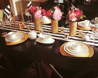 Classic Black and White Stripe Wedding and Table Runners, Dinner table, reception table, baby shower, birthday party, custom sizes available