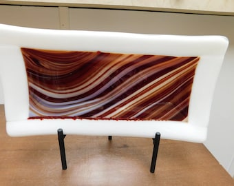 Red and White Swirl Fused Glass Tray