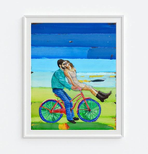 Handlebars -Danny Phillips ART PRINT or CANVAS Bicycle biking cycling wall art home decor poster, All Sizes