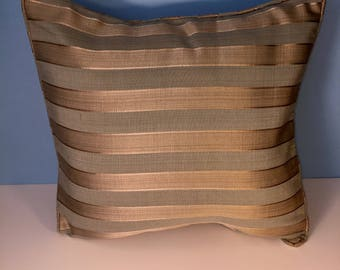 Decorative Corded Pillow Cover - Soft Blue and Gold Stripe
