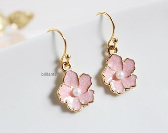 Cherry blossoms earrings in gold, Pink flower earrings, Bridesmaid gift, valentaines day, Wedding earrings