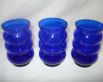 3 Cobalt Blue Louie Glass Juice Tumblers Harpo Design