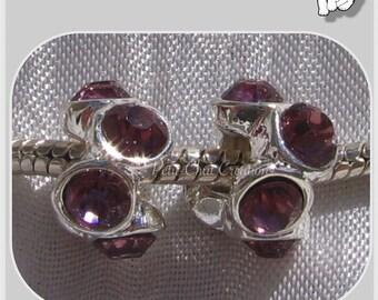 set of 2 METAL CHARMS beads silver RHINESTONE MAUVE purple 4mm 8mmTROU * H209