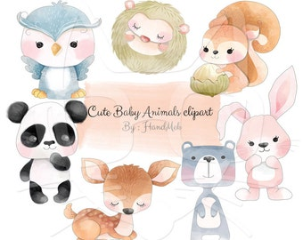 cute baby animals Clip Art, animals water color clipart. Instant Download,PNG file - 300 dpi