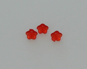 20 caps cups flowers 14x10mm orange/red acrylic - Ref: CA 536
