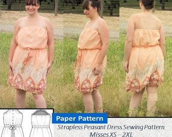 Soleil sans bretelles robe - tailles dames, femmes en tailles XS, S, M, L, XL, 2XL - papier couture imprimé motif, bande élastique réglable, ceinture de taille