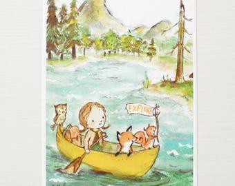 Forest nursery art, woodland decor, Explorer Girl, giclée print, Kit Chase artwork, 5x7, 8x10, 11x14
