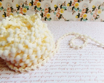 Cream Mini Pom Pom Trim ~doll clothes supply, baby kids wedding hair bow band embellishment, scrapbook gift wrap tiny novelty garland