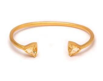 Gemstone Cuff Bracelet - Gold Gemstone Bangle - Citrine Cuff - Gold Cuff - Yellow Gemstone Bangle