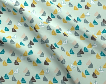 Teal Green Sailing Boats Fabric - Sailboats By Mrshervi - Boats Cotton Fabric By The Yard With Spoonflower