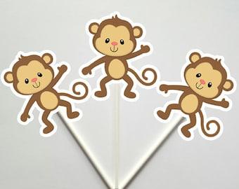 Monkey Cupcake Toppers, Monkey Baby Shower, Monkey Birthday