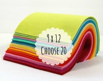 Wool Blend Felt Sheets, 9 x 12 inches - Felt Fabric - Craft Felt - You Choose 20 Colors