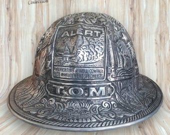 Hand Carved Aluminum Full Brim Hard Hat