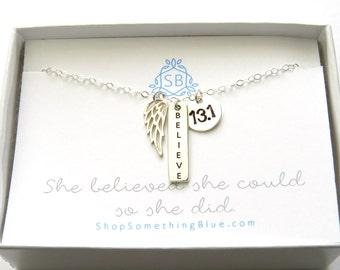 Runner Gift • Believe Bar Necklace • Angel Wing & Hand Stamped Disc • 5k 10k Half Marathon Marathon • Runner Necklace • Running Jewelry