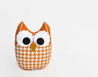 Stuffed Owl Plush Owl Orange Houndstooth Stripes Modern Nursery Decor