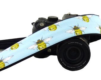 Working Bee Camera Strap. Canon Nikon Camera Strap. DSLr / SLR Camera Strap. Photo Camera Accessories. Personalized Camera Strap