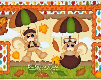 2 Premade Scrapbook Pages 12x12 Layout Paper Piecing Falling Into Fall Leaves Squirrel Boy Girl Handmade 54