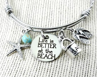 Life Is Better at the BEACH Bangle Bracelet or Necklace  - Toes In the Sand Collection - Engraved - Flip Flops Starfish Sand Pail