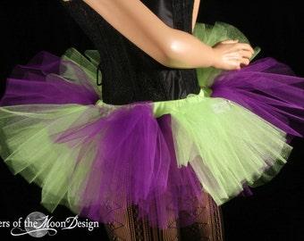 Mini adult tutu skirt Peek a boo purple and neon green stripe roller derby run gogo dance -- You Choose Size -- Sisters of the Moon