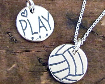 Volleyball Necklace | Play Volleyball Charm | Sterling Silver Volley Ball Jewelry