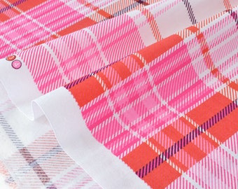 Fabric American checked Scottish x50cm pink tone