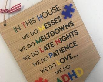 ADHD plaque - ADHD awareness Gift - special needs - SEN