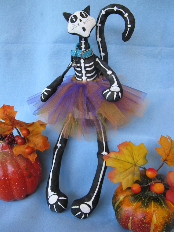 Bony Moronie - Mailed Cloth Doll Pattern  16in Halloween Skeleton Cat Doll