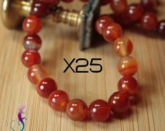 25 beads 6mm carnelian