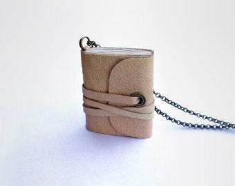 Book necklace, mini book jewelry, mini journal, tiny book, journal, literature necklace, leather journal